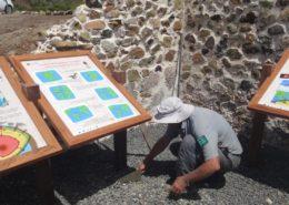 Mise en place de la salle d'exposition géologique - Réserve naturelle de Désirade